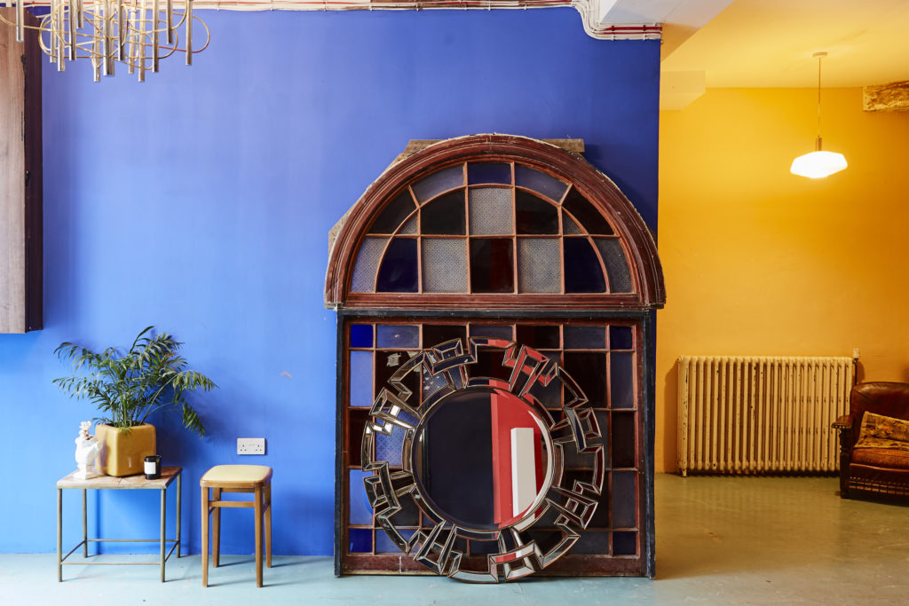 Blue and yellow photograph of London venue Apiary Studios
